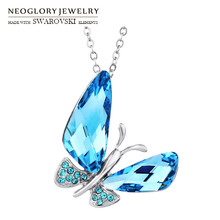 Neoglory Austria Crystal & Auden Rhinestone Long Pendant Charm Necklace Elegant Butterfly Style Alloy Plated Trendy Design(China)