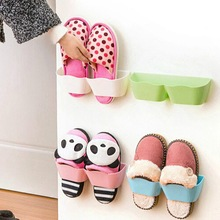 Shoes Orgnaizers Plastic Wall Hanging Shoes Storage Holder Racks Door Shelter Store Cabinet Home Wall Sticky(China)