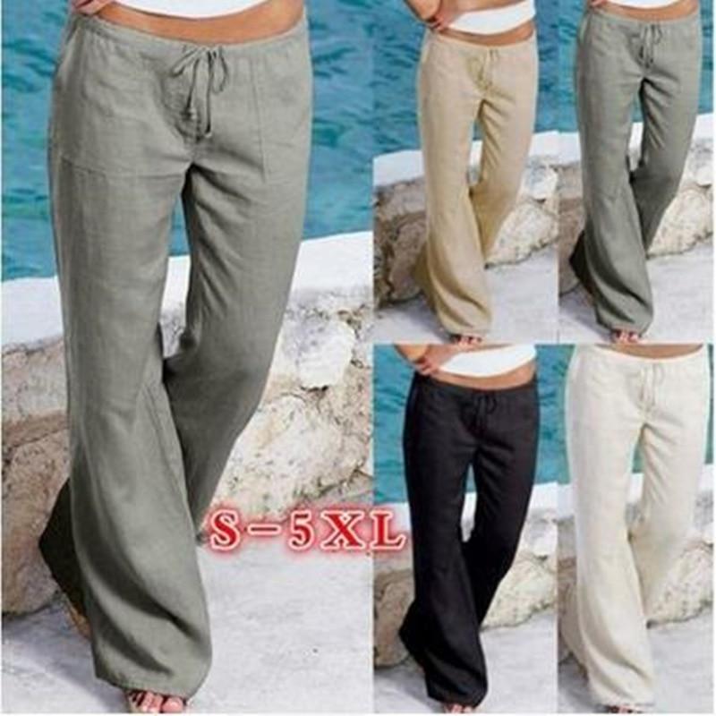 Plus Size - Wide Leg Line Pants Casual Loose Trousers Bottom (Us 6-16 / S-5Xl)