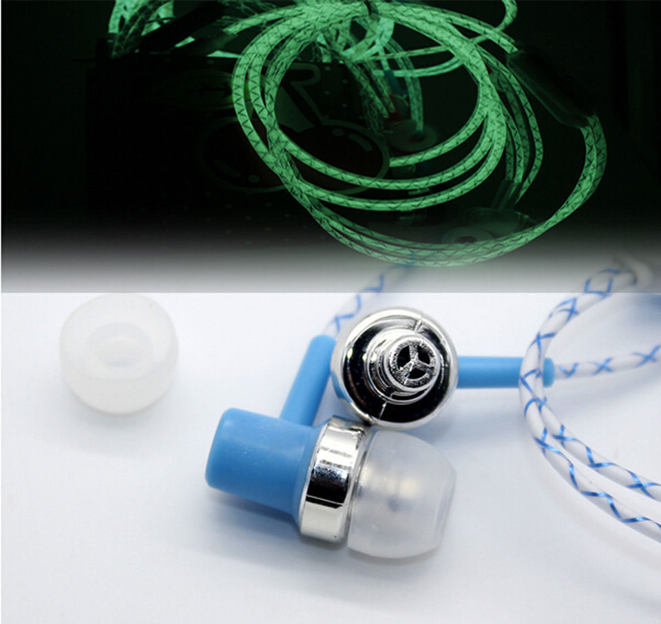 Glow In The Dark In ear Earphones 3 5mm Super Bass Stereo For iPhone Samsung With