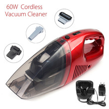 Red 60W Cordless Mini Portable Vacuum Cleaner For Car Dry Wet Handheld Super Suction Dust Collector Cleaning