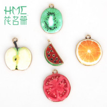 Hot Sale 5pcs/bag Enamel Metal Alloy Fruit Charm Pendant,for DIY Earring Bracelet Necklace Jewelry Findings Craft Making