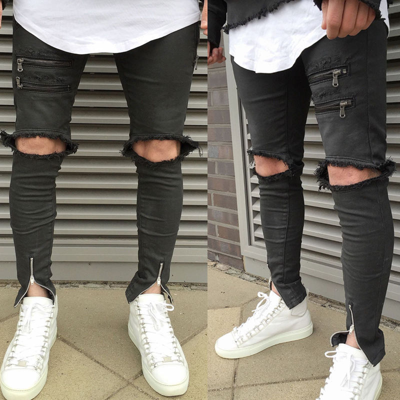 Fashion Men Ripped Jean Pants Biker Classic Skinny Slim Hole Straight Denim Trousers JeansОдежда и ак�е��уары<br><br><br>Aliexpress
