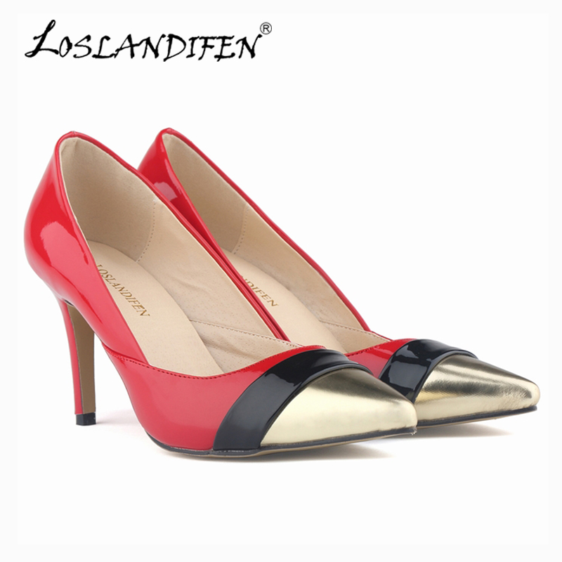 WOMENS Pointed Toe Patent PU leather HEELS CORSET STYLE WORK PUMPS COURT SHOES US 4-11 952-2PA<br><br>Aliexpress