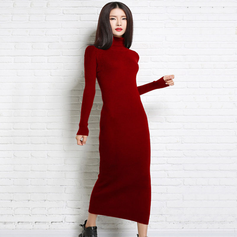New 2017 Autumn Winter Knitted Dress Women Slim Long Sleeve Pullover Turtleneck Bodycon Long Dresses Robe Femme Vestidos MujerÎäåæäà è àêñåññóàðû<br><br>