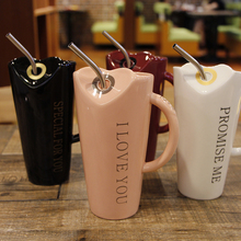 NEWYEARNEW 400mL Creative Ceramic Cup With straw Creative Cotton Drinkware Water Coffee Cup Love Gift Free Shipping(China)