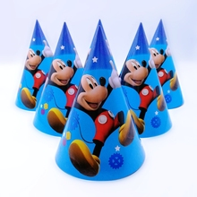 6pcs/lot 20cm *14 Mickey Mouse Cartoon Disposable Paper Hat Cap birthday party hat Kid Boy Birthday Party supplies decoration(China)
