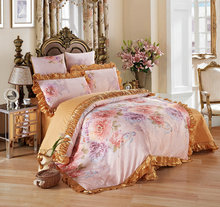 Comfortable Satin Jacquard Bedding Sets Ruffles Designer Bedding Sets Luxury Bedding Set High Quality Duvet Cover Bedspread(China)