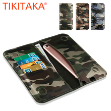Cool Camouflage Leather Flip For Iphone 7 6 6s Plus SE 5 5s Universal Stand Wallet Case for all Smartphone Smaller than 6 Inch(China)