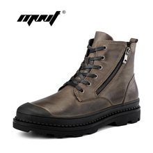 Vintage Style Men Boots Natural Leather Autumn And Winter Shoes Water Proof Work&Safety Shoes Men Quality Ankle Boots(China)