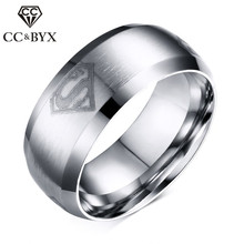 CC Titanium Steel Superman Men Ring Punk 8mm Ring Black & Silver & Gold-Color Fashion Jewelry Accessories Drop Shipping CC925b(China)