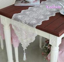 Modern organza white table runner cloth cover mantel embroidery lace bed placemat floral tablecloth for wedding decor