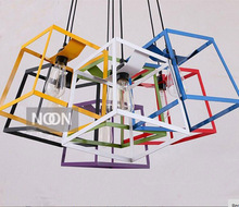 Free shipping New modern iron art chandelier Box Pendant lamp Children room lamps  seven  colours