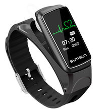 Health Heart Rate Monitor Wristband Smart Bracelet Bluetooth Headset 2 in 1 Answer/Make Phone Call Business Earphone/Watch