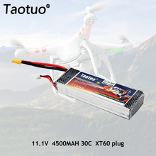 Taotuo Power Lithium Polymer Lipo Battery 11.1v 4500mah 3S 30C XT60 Plug For RC Helicopter Car Truck Boat Dron Bateria(China)