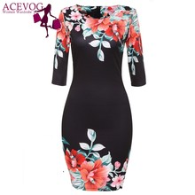 ACEVOG women summer dress for women Bodycon Package Navy Blue, Black, White 3/4 Sleeve flower print dresses vestidos femininos