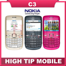 Brand nokia C3 Original unlocked nokia C3/C3-00 cell phone WIFI bar one year warranty Refurbished