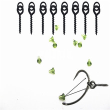 Carp fishing 50pcs Hook stoppers and 25pcs Bait screws with link loop terminal tackle bait holder lures rods spod bomb