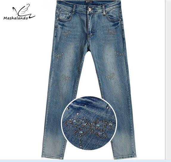 Long Women denim pants High-end explosions Butterfly rhinestones plus Size Pencil Jeans Elastic hot jeans pantsÎäåæäà è àêñåññóàðû<br><br>