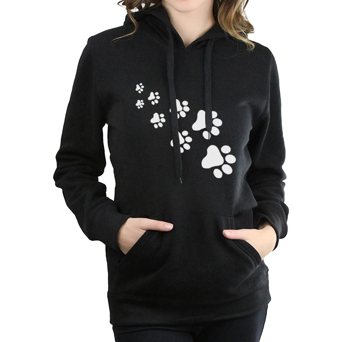 Casual fleece autumn winter sweatshirt pullovers 17 kawaii cat paws print hoodies for Women black pink brand tracksuits femme 1