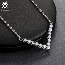 ORSA JEWELS Hot Sale Victory Crystal Pendant Necklaces Elegant Lady Silver Jewelry Necklaces Christmas Gift for Women ON101(China)