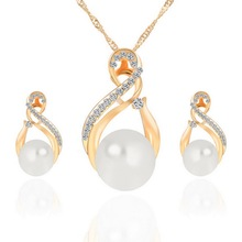 New Design Fashion Necklace Earring Set Imitation pearl Jewellery Set For Women Wedding Crystal Jewelry set