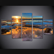 5 Pcs/Set Framed HD Printed Iceberg Sunset Lake Wall Art Canvas Print Poster Canvas Pictures Landscape Oil Painting Artworks(China)
