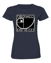 Vintage T Shirts Crew Neck Women Casual Short Fibonacci Easy As 1 1 2 3 Science Nerd Geek Deluxe Soft Tee Shirts