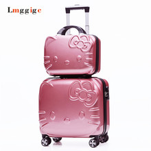 "Child Luggage Travel Bag,Cabin 18""inch Universal Wheels Suitcase,Rolling Carry On,Women Kids Trolley Password Box Cosmetic bag(China)"