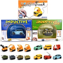 COOLPLAY Induction car toy Kids Magic toy truck fun plastic Engineering vehicles Excavator Fire truck tank with Magic Pen