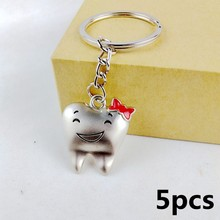 5pcs 2017 cute kawaii tooth shape key chain ring anime keychain novelty items creative trinket charm gift  women girls kids PINK