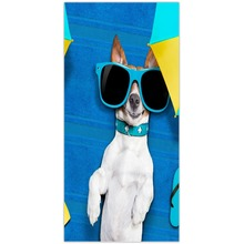 Modern Design Polyester Beach Towel Bath Towel Funny Cool sunglasses dog Blue Stylish fashion kids adult bath towel(China)