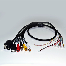 RJ45+BNC+DC+USB+Audio input+Audio output for CCTV IP network Camera PCB Module video power cable (BG)