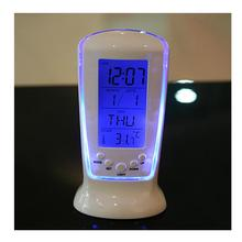 Backlight LED Display Table Alarm Clock Snooze Thermometer Calendar Night Light
