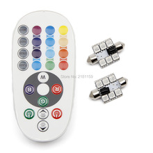 1set Car Styling 31mm 36mm 39mm 41mm 5050 remote control multiple colour RGB auto led dome lamps Interior led reading lights