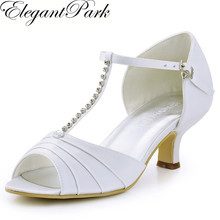Women Shoes White Ivory Low Heel T-Strap Rhinestones Pumps Satin Prom Wedding Bridal Shoes Woman Sandals Wedding Shoes  EL-035