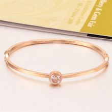 New gold color cristal bracelet femme, fashion stainless steel bracelets bangles jewelry womens accessories pulseras(China)