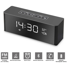 Bluetooth Speaker Alarm Clock FM Radio Stereo 8 Hours Rechargeable Battery Hands-free w/Mic LED Display Micro SD Slot  AUX Input