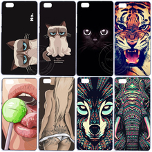Grumpy Cute Cat Tiger Sexy Girl Elephant Hard Plastic Case Cover For Huawei Ascend P6 P7 P8 P8 Lite Mini 2017 P9 Lite P10 Plus(China)
