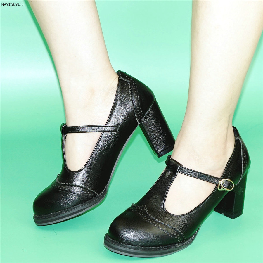 NAYIDUYUN      Fashion Women T Strap Cuban High Heels Ankle Boots Round Toe Office Mary Janes Low Top Party Pumps Casual Shoes<br>