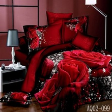 Home textile,Reactive Print 3D Red Rose bedding sets luxury Double/Queen/King Size Bed Quilt/Doona/Duvet Cover Pillowcases Set