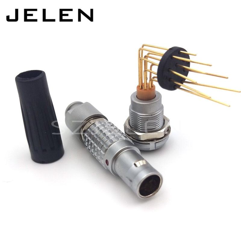 LEMO connector 9 pin plug and socket, FGG.1B.309CLAD, ECG.1B.309.CLL, PCB connector 9 pin, 90 degree bend pin connector<br>