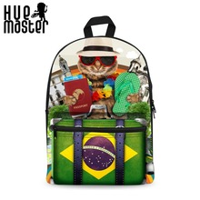 HUE MASTER 15 Inch Canvas Backpack School Bags Multi-functional Laptop Bag 3D Printing Banner Series Boys and Girls Leisure S(China)