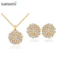 LUOTEEMI Brand Luxury New Fashion Clear CZ Crystal Wedding Party Flower Cut Necklace Earrings Set for Women Princess Jewelry Set