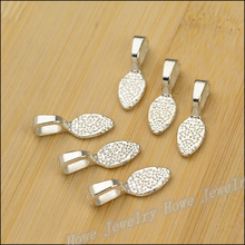 Free shipping  Pendant Clips & Pendant Clasps 100PCS bright Silver Tone Glue on Bail Leaf Tags  Jewelry Findings DIY JewelyJC614