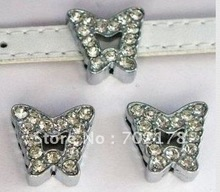 Alloy accssory 50pcs 10mm full rhineston butterfly  star  Slide Charms Fit Pet Dog Cat Tag Collar Wristband
