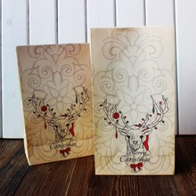"Merry Christmas kraft paper bag, Gift Bags, Party,Favour,Packaging ""Christmas reindeer printing"" 24pcs/lot"