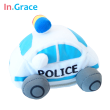 high quality handmade stuffed 112 police cars cute mini  police cars plush toy for baby early learning toy cars free shipping