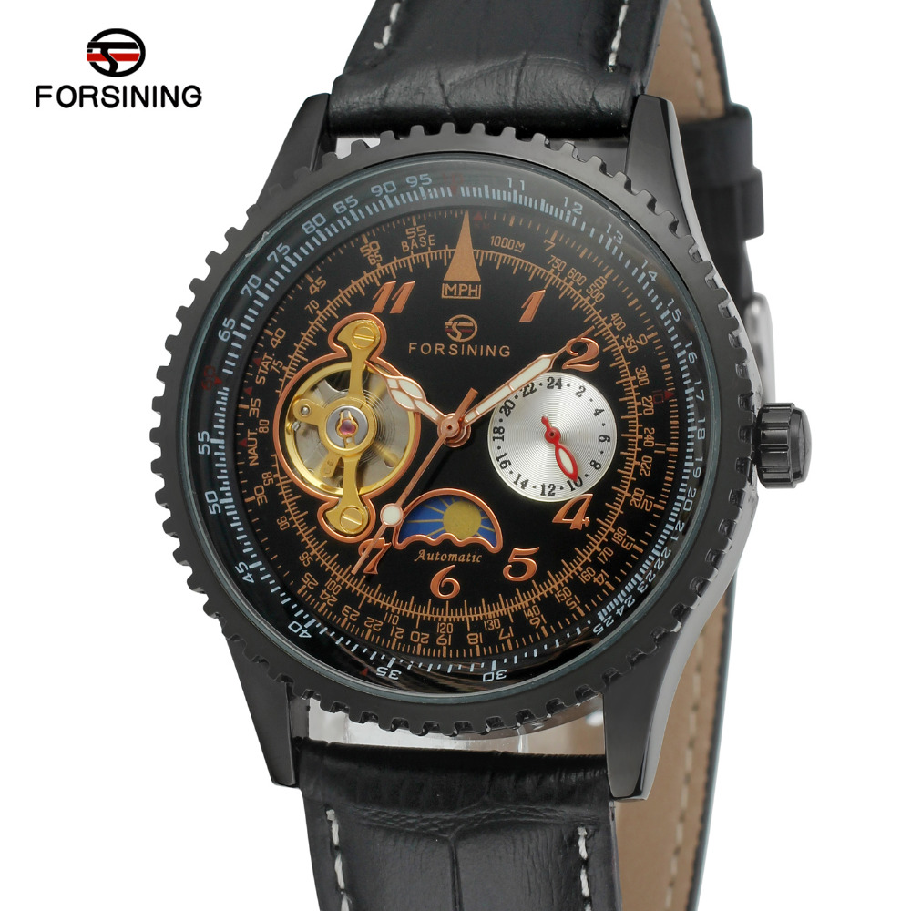 Forsining Mens Watch Auto Leather Strap Moon Phase Chinese Automatic Tourbillion Factory Wristwatches Color Back FSG034M3<br>
