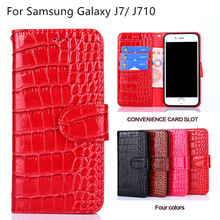 Wallet Style Cover Case For Samsung Galaxy J7 2016 Leather Flip Cover For Samsung Galaxy J7 2016 J710 Mobile Phone bag(China)